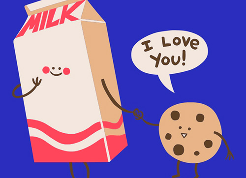 diseño cookies love milk