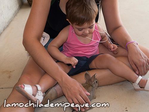 Emma con un conejito en la masía Can Coll